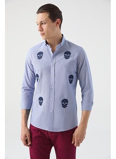 Tween Slim Fit Çizgili Gömlek Mavi